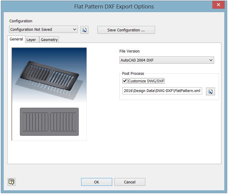 Εξαγωγή Flat Pattern σε αρχεία DXF / DWG