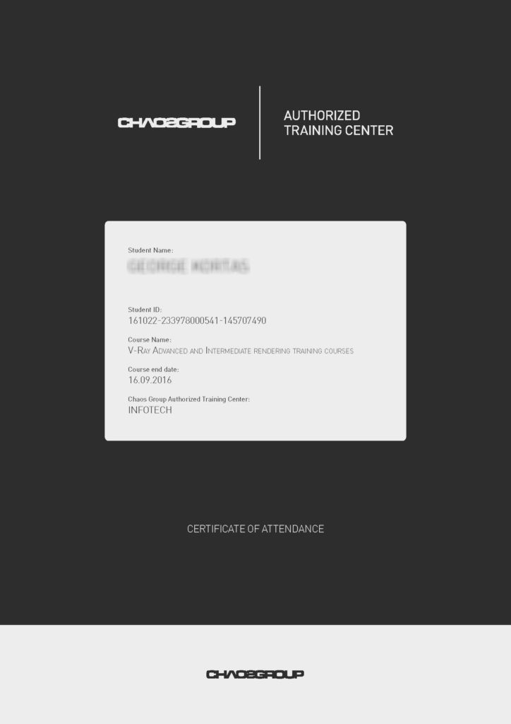 Chaosgroup V-Ray Certificate of Attendance