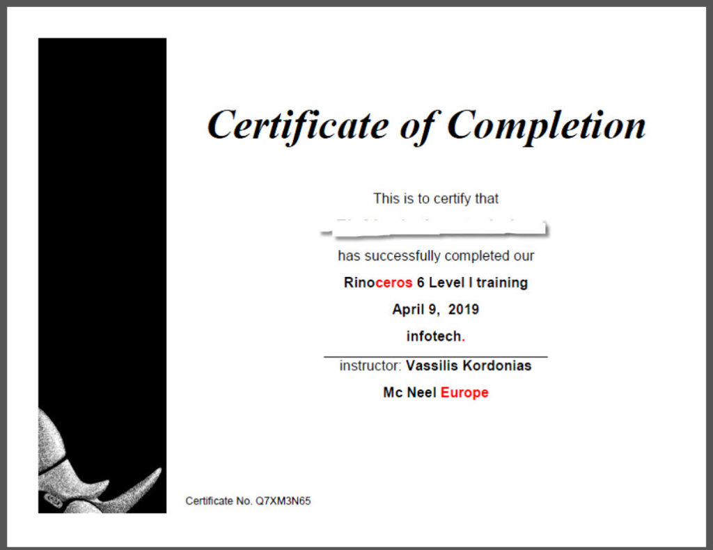 Rhino Certificate of Completion