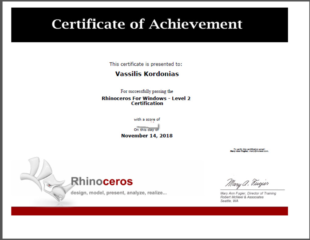 Rhino Chertificate of Achievement